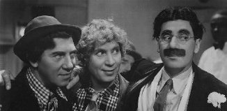 Even his brothers are suspicous of Groucho's toupee
